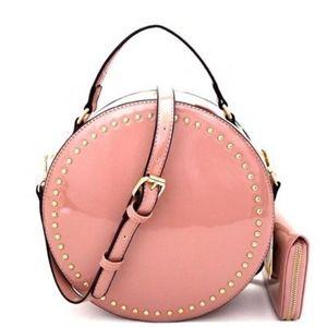 Handbags - Mauve Patent Shiny Round Satchel Purse Bag Wallet